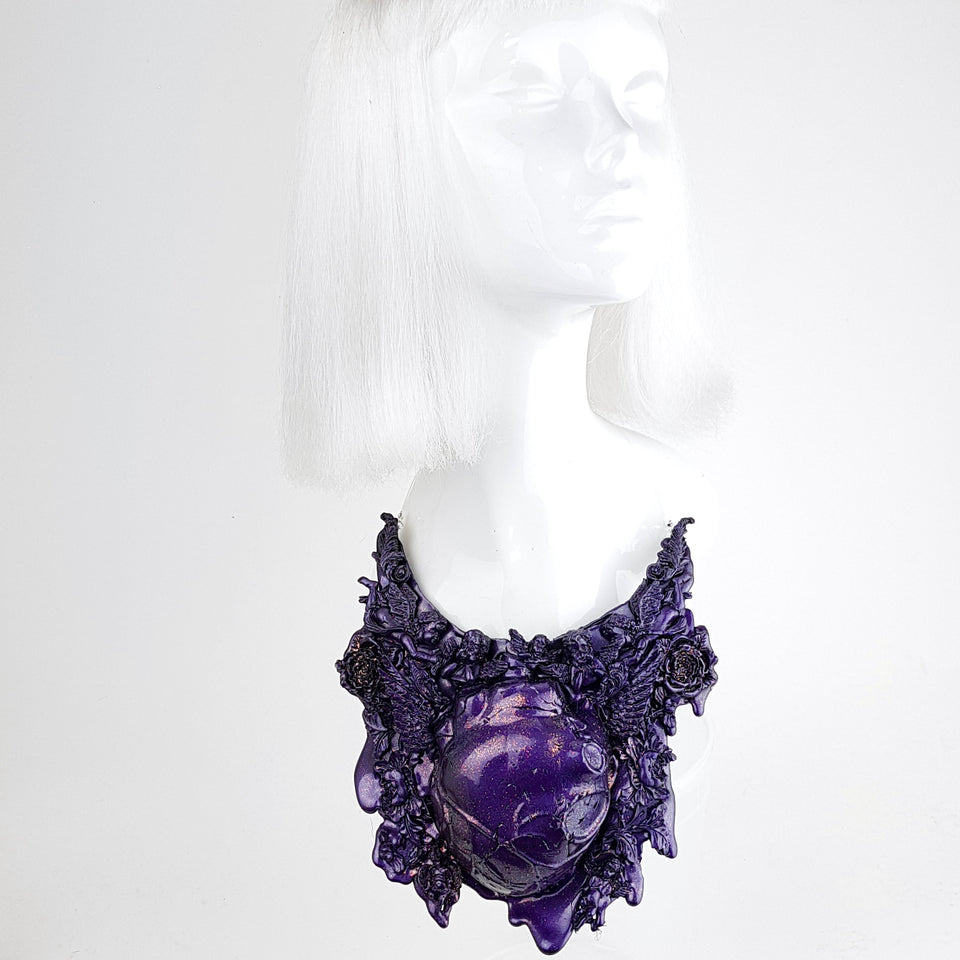 """Mechanical Heart"" Deep Purple Filigree Neckpiece"