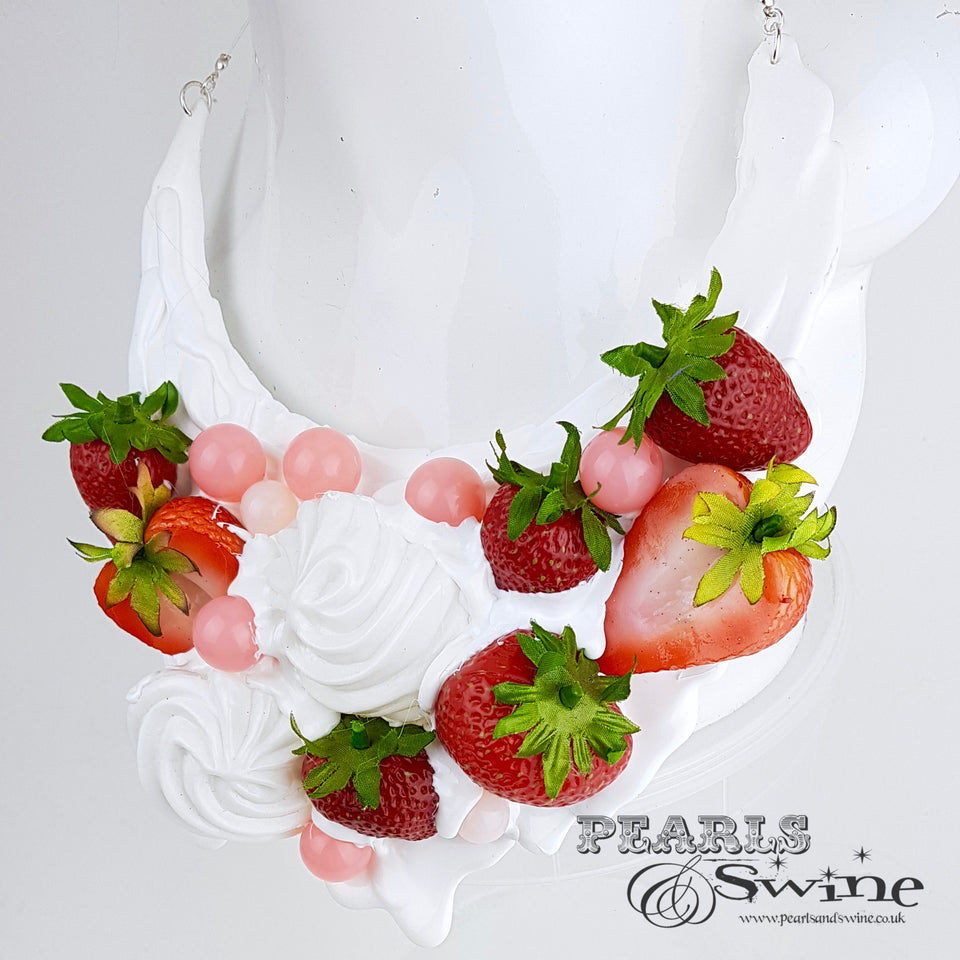 """Strawberries & Cream"" Neckpiece (Similar can be made!)"