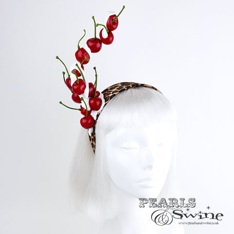 """Rock 'n' Roll Baby"" Cherry and Leopard Print Headband"