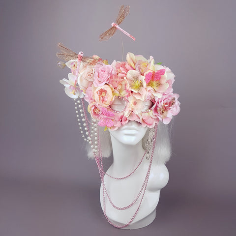 Pink flower mask, handmade in the UK