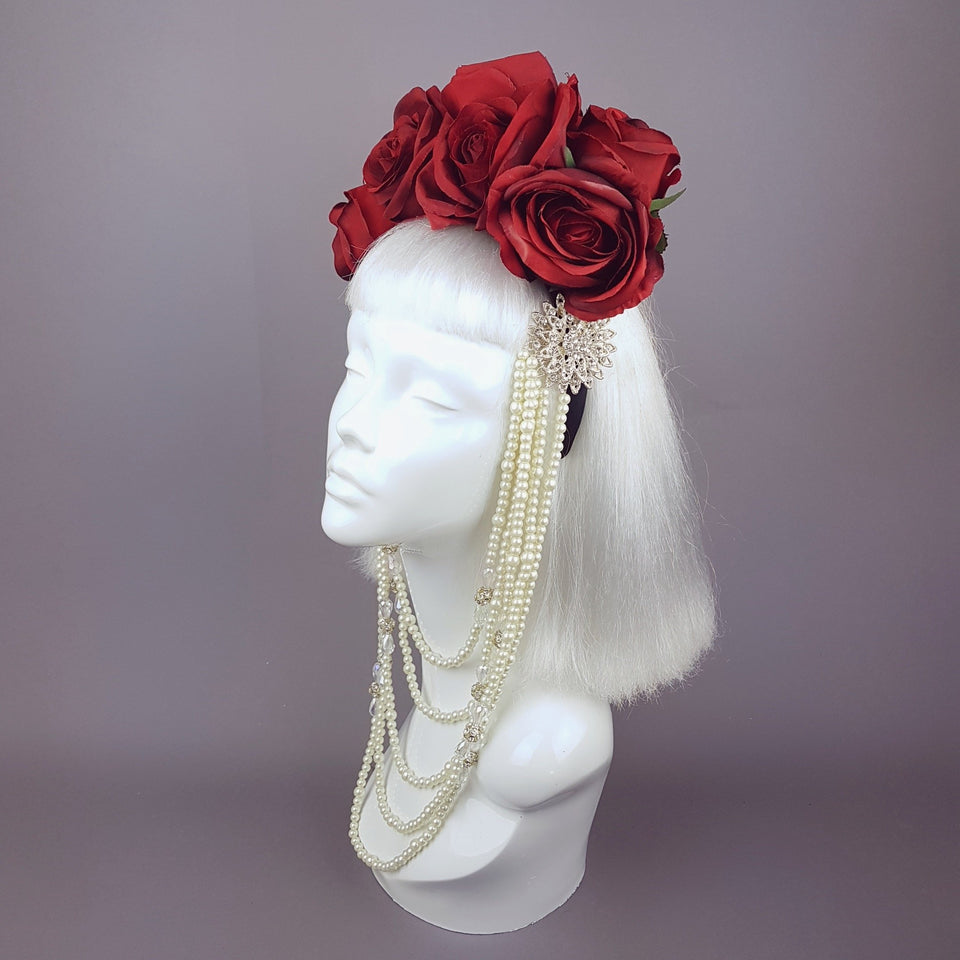 """Majesté"" Red Rose & Pearl Headdress"