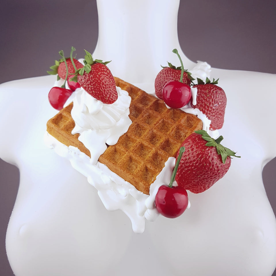"""Strawberry Waffle"" Cherries & Cream Neckpiece"