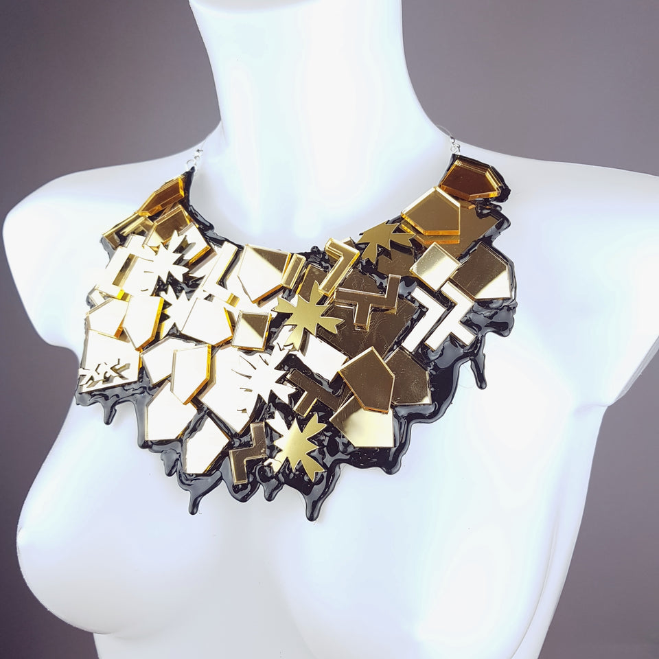 """Glam"" Eighties Inspired Gold Neckpiece"