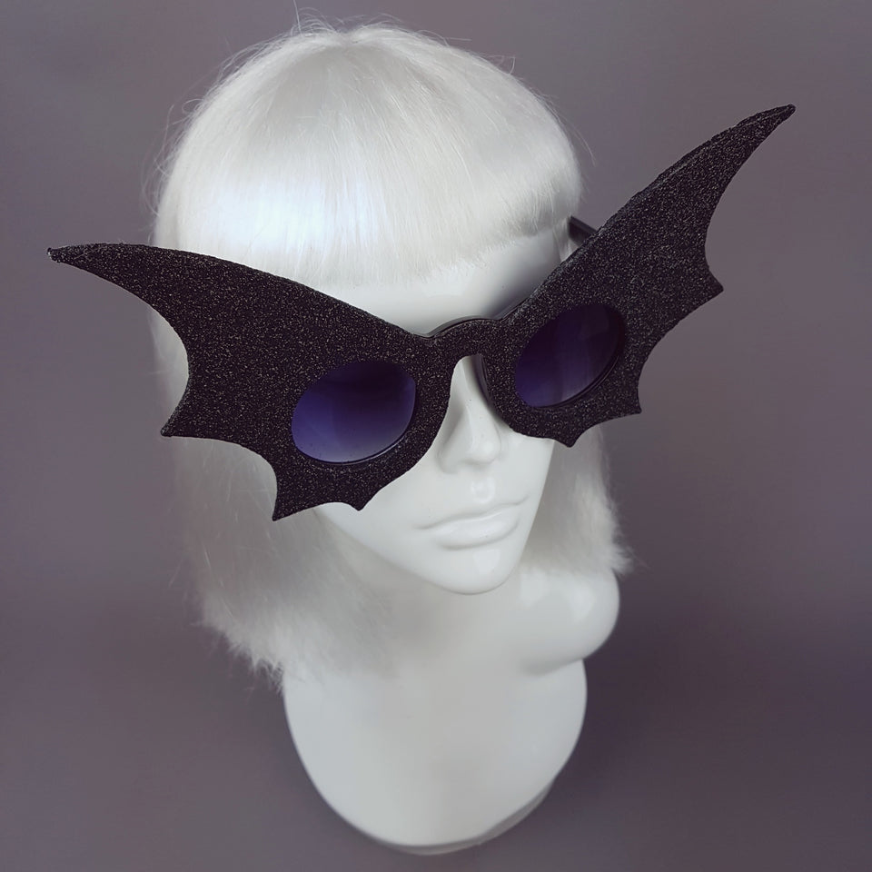 """The Night Flier"" Black Glitter Bat Wing Sunglasses"