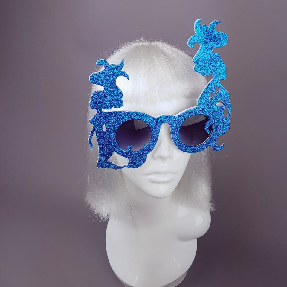 """The Lure of Sirens"" Blue Glitter Mermaid Sunglasses"