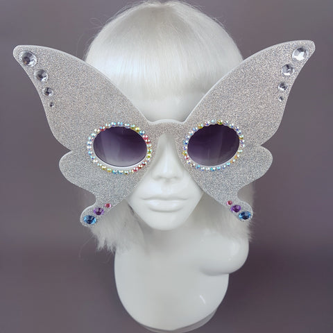 """Metamorphosis"" Diamond Glitter Butterfly Sunglasses"
