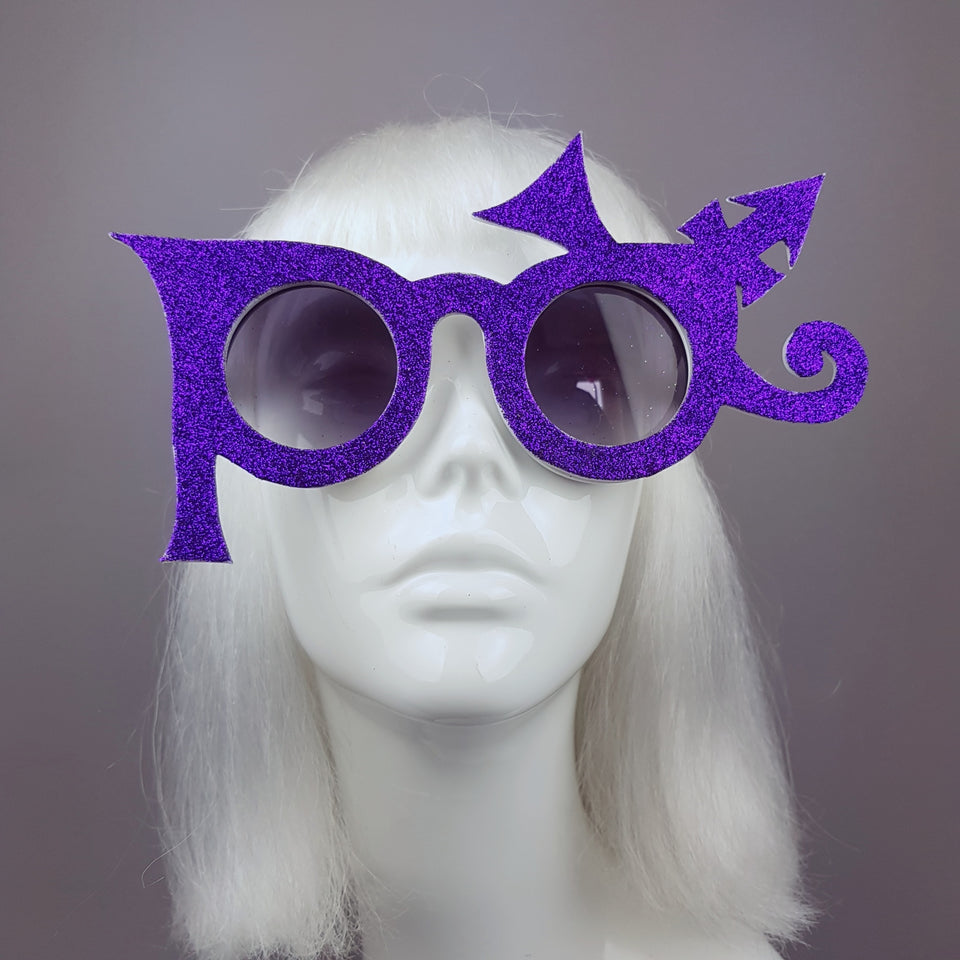 """Baby, I'm A Star"" Purple Glitter Prince Inspired Sunglasses"