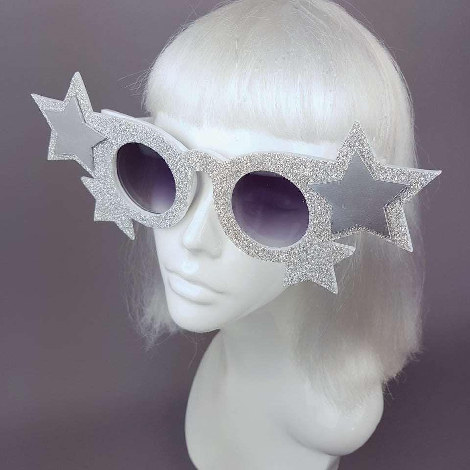 """Starry Eyed"" Diamond Glitter Stars Sunglasses"