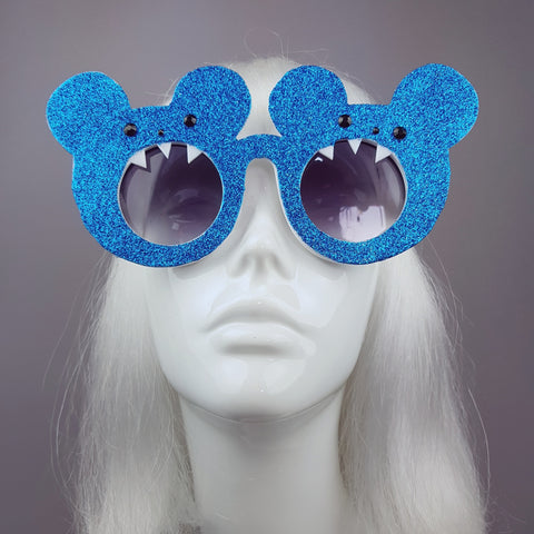 """Toofies"" Blue Glitter Teddy Bear Sunglasses"