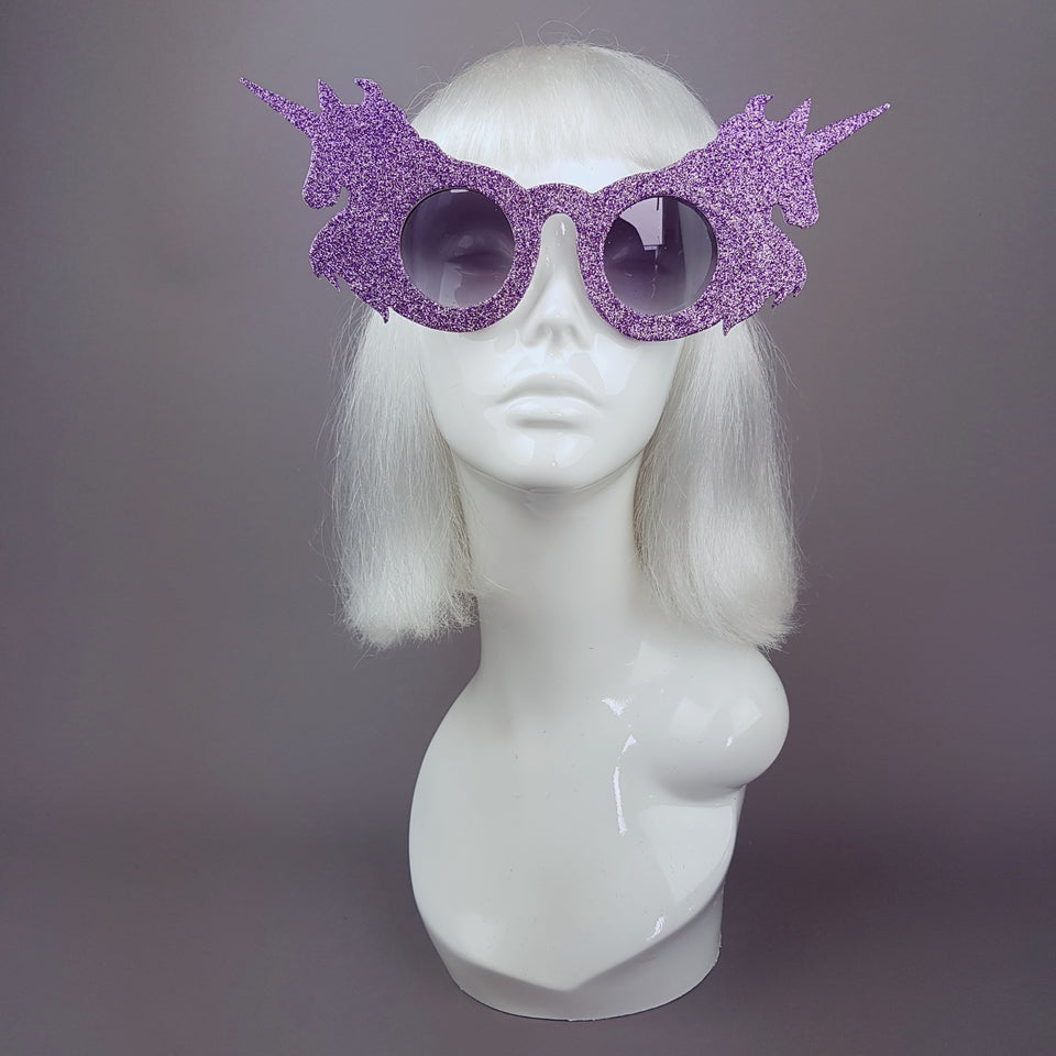 """Believe"" Light Purple Glitter Unicorn Sunglasses"