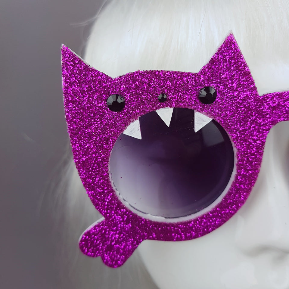 """I Will Eat You"" Pink Glitter Cat Sunglasses"