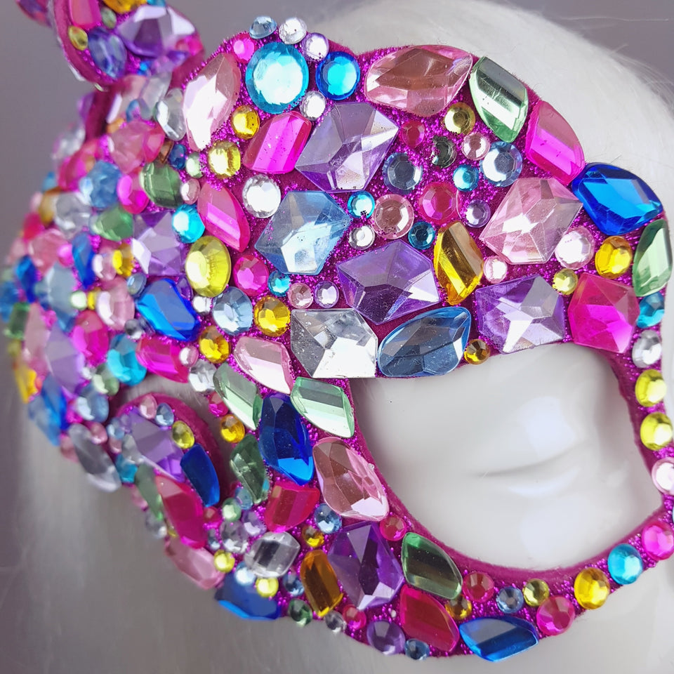 """Discobaby"" 80s Inspired Rainbow Jewel Half Mask"