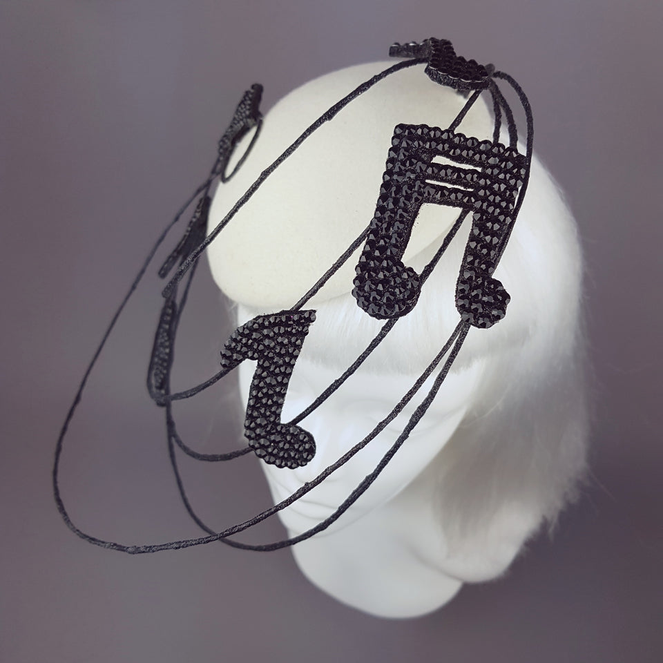 """Play on"" Jewelled Musical Notes Hat"