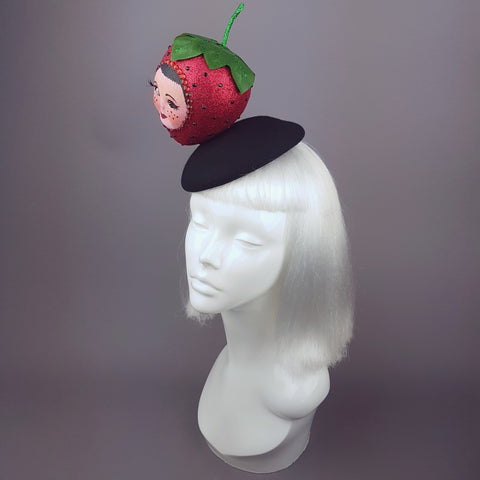 "Glittery Doll Face Strawberry Hat ""Fraise"""