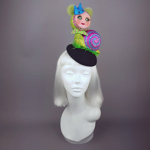 """Slither"" Glitter Doll Face Snail Hat"