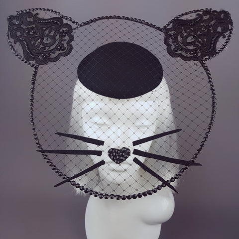 """Minou"" Black Cat Wired Veil Hat"