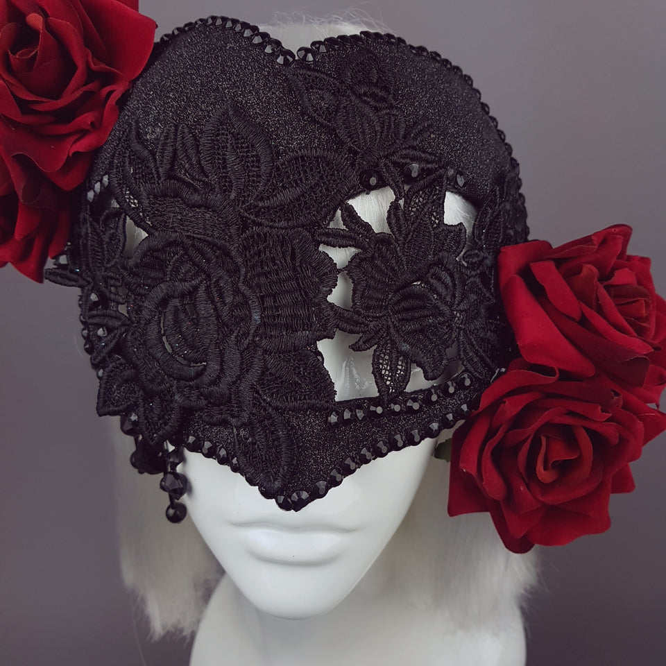 """Rozalia"" Black Jewelled Heart Rose Mask"
