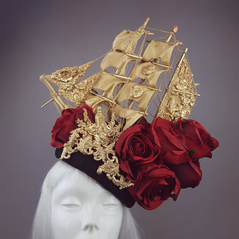 """Aurum Rosa"" Gold Ship & Red Roses Headdress"