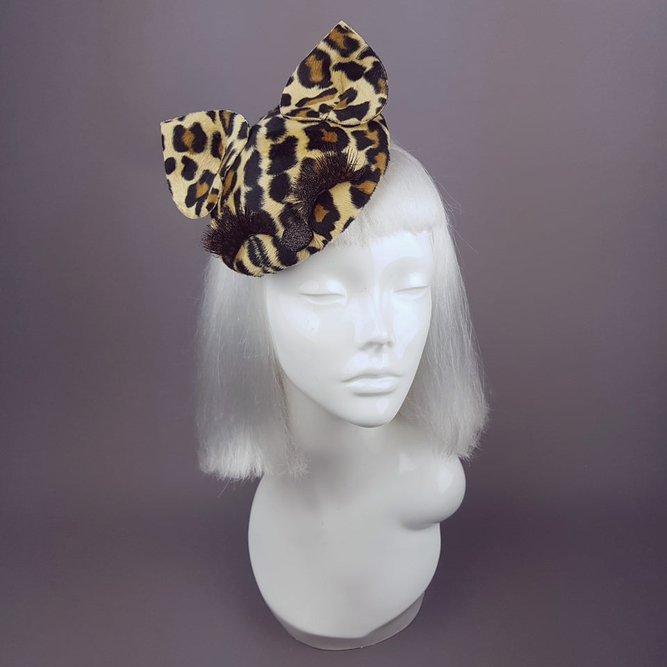 """Fluffy"" Leopard Print, Cat Ears Fascinator"
