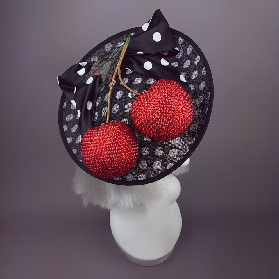 """Cherry Pop"" Giant Cherries Polkadot Hat"