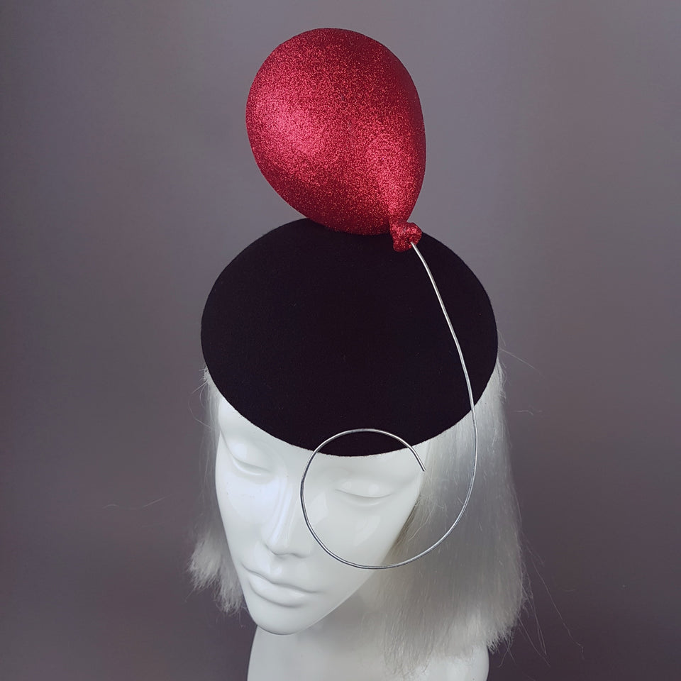 """Le Ballon Rouge"" Red Glitter Balloon Hat"