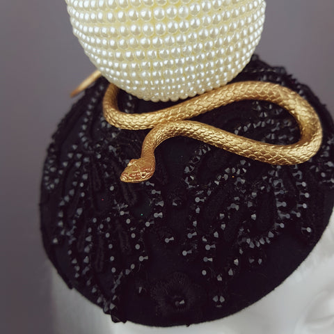 """Forbidden Fruit"" Pearl Apple & Snake Crystal Hat"