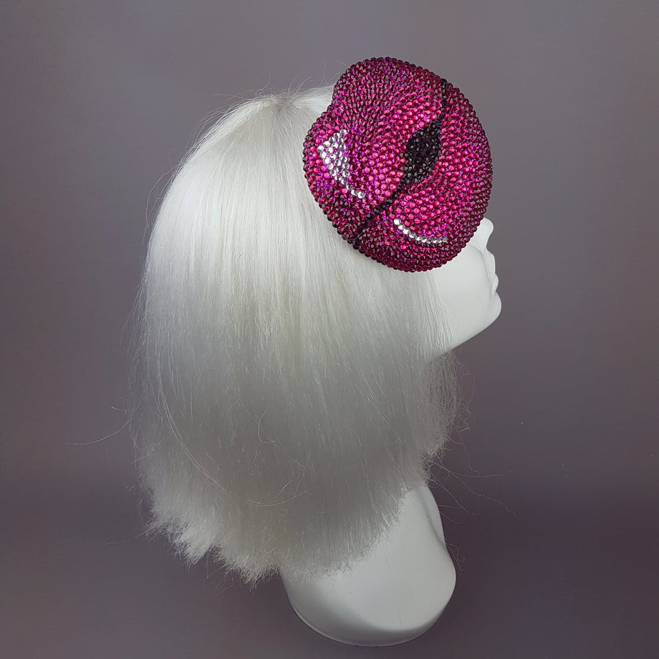 "Fuchsia Pink Crystal Lips Hat ""L'Amour"""