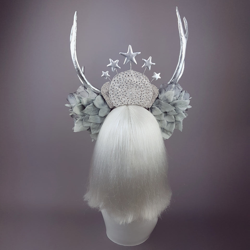 """Narnia"" Grey Rose & Silver Antler Headband"