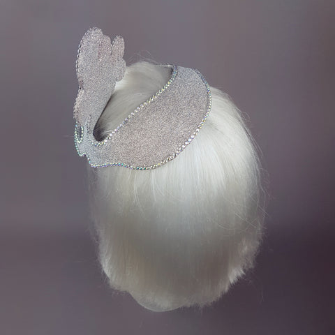 """Million Dollar Mermaid"" Vintage Inspired Silver Fascinator"