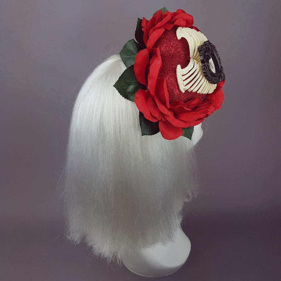 """Enchantment"" Gothic Red Rose Heart Hat"