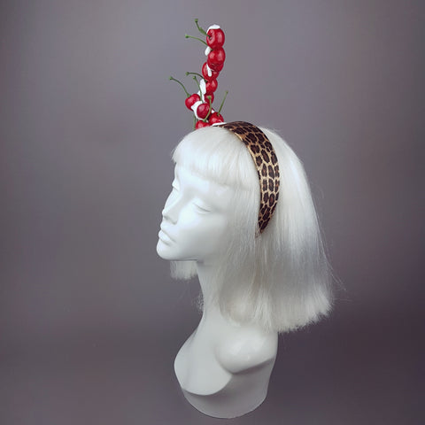 """Rock 'n' Roll Baby"" Cherry, Cream & Leopard Print Headband"