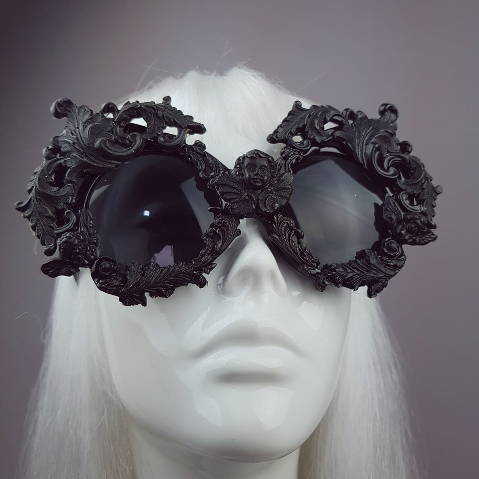 """Sacré Cœur"" Black Filigree Ornate Sunglasses"