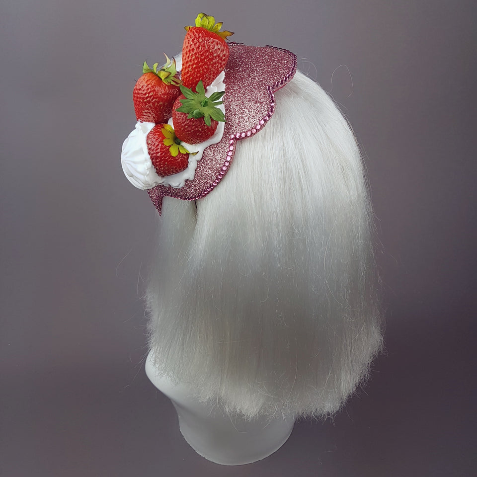"""Whipped"" Strawberries & Cream Vintage Style Hat"