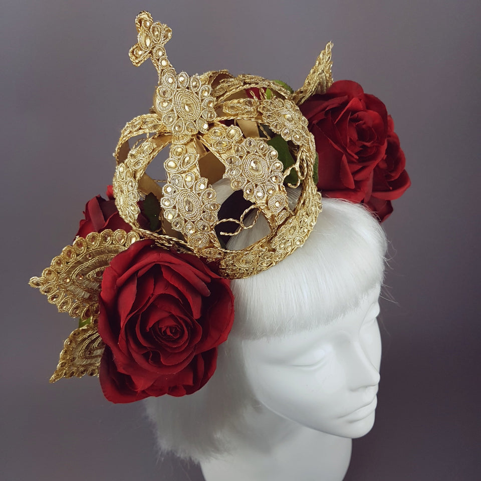 """Lucrezia"" Red Rose & Crown Hat"