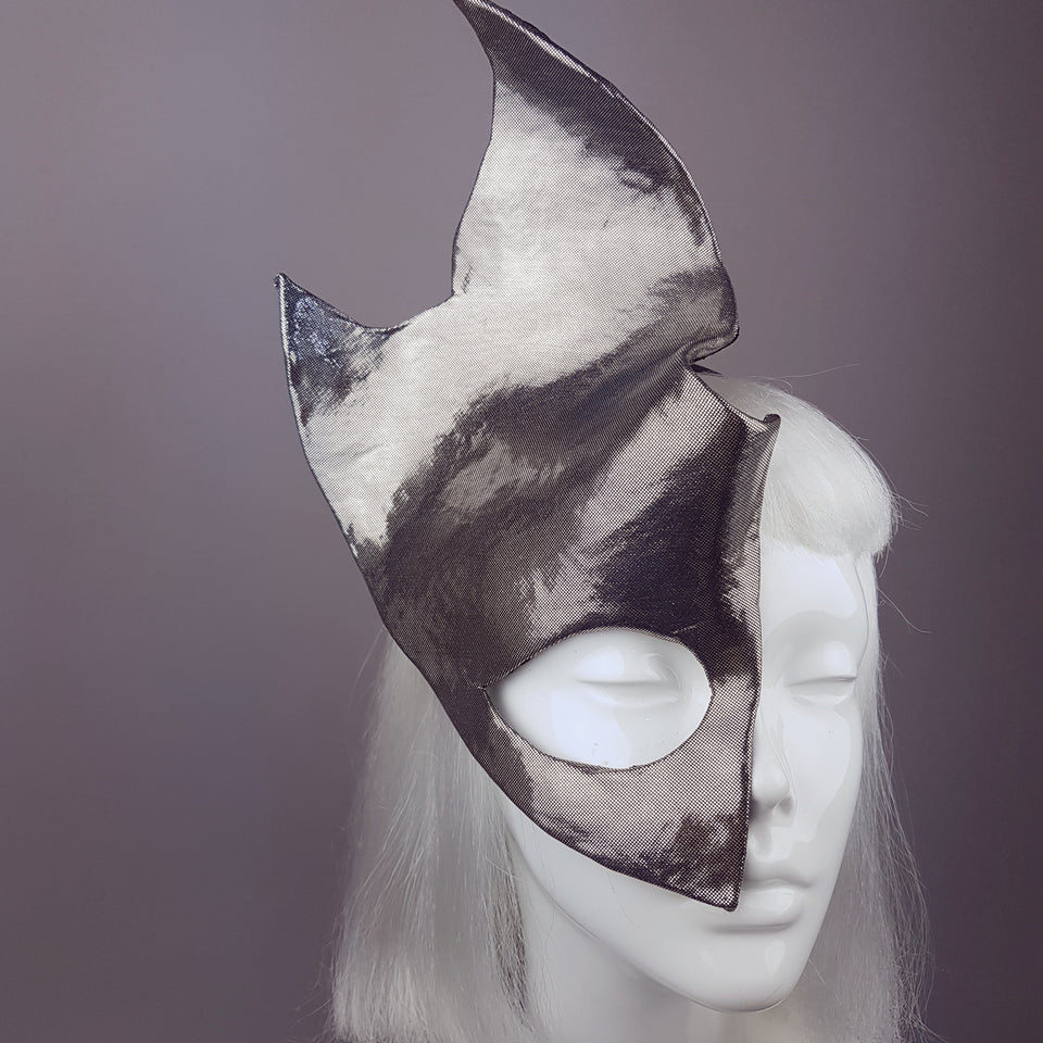 """Fire & Ice"" Metallic Silver Half Mask"