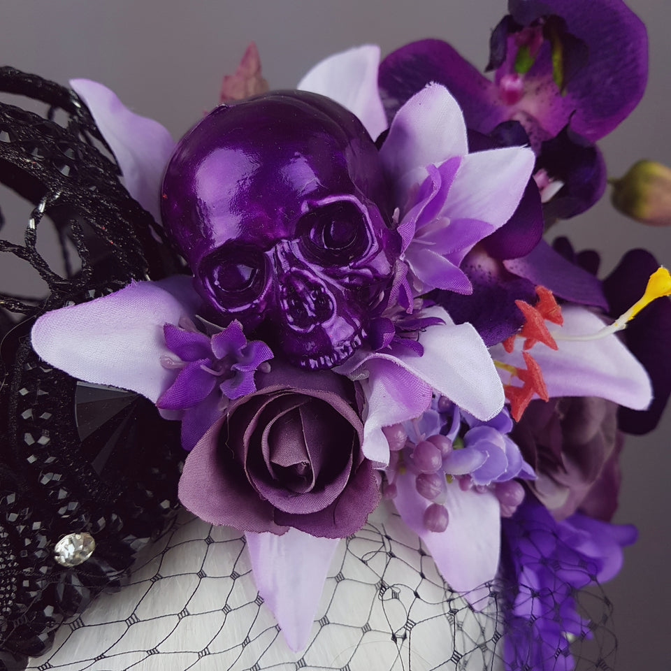 """Dark Queen"" Black Crown & Skull Floral Headpiece"