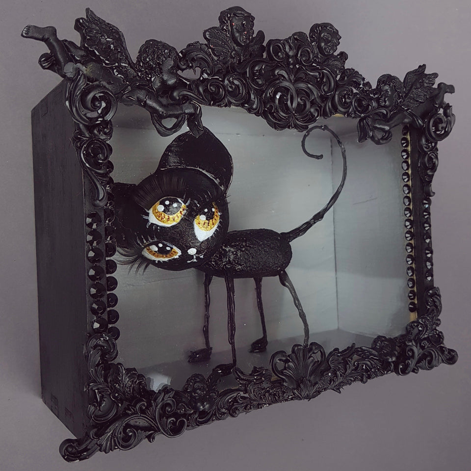 """JuJu"" Black Cat Doll Sculpture in Framed Box Art"