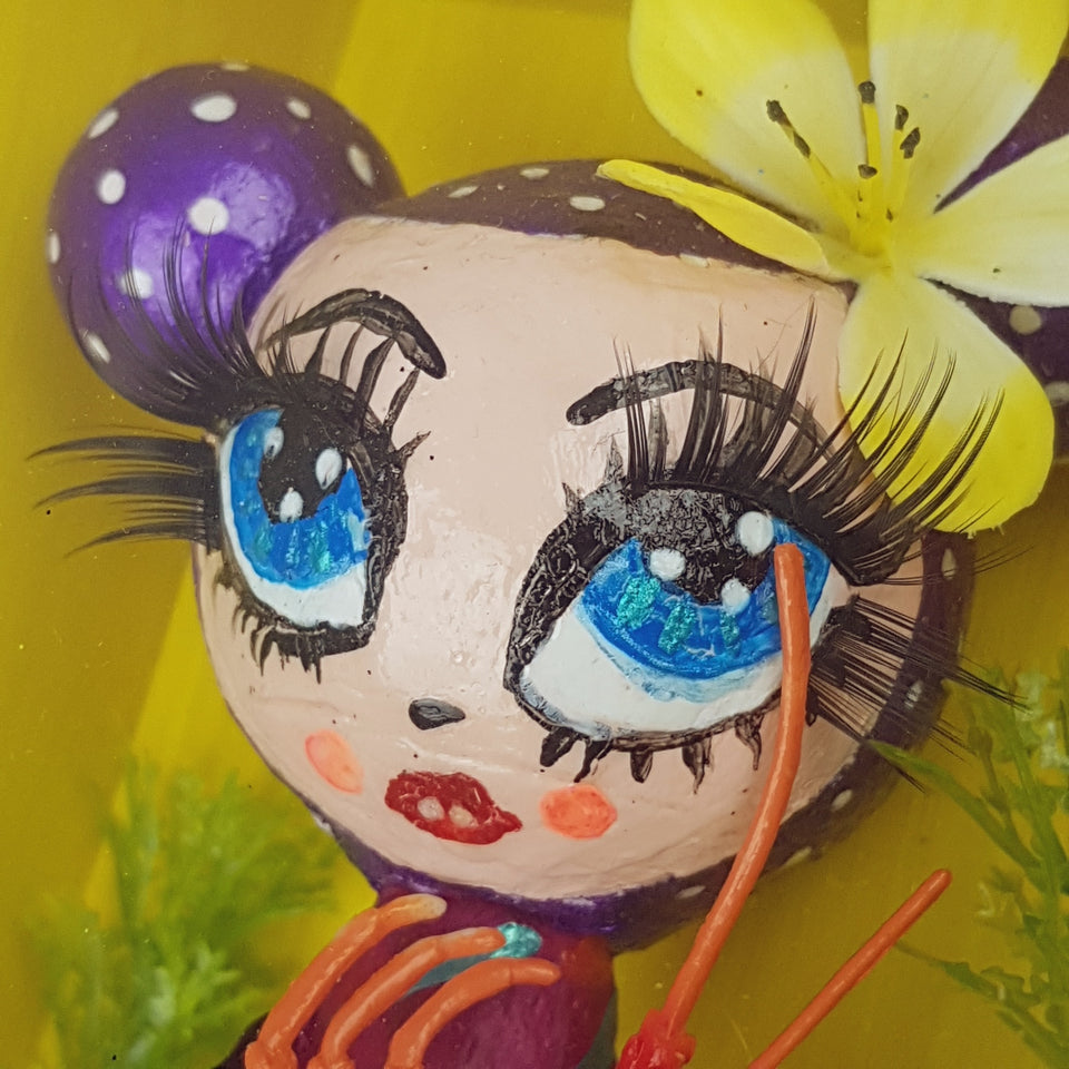 """Adella"" Pop Surrealism Doll Sculpture in Framed Box Art"