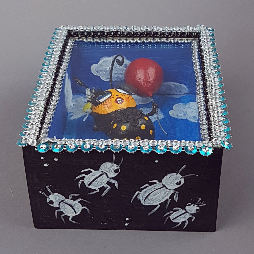 """Bumble"" Bee Doll LowBrow Art Sculpture in Framed Box"