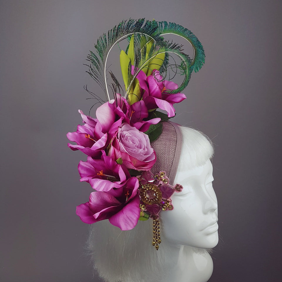 """Maurelle"" Pink Purple Gladioli & Rose Headpiece with Peacock Feathers"