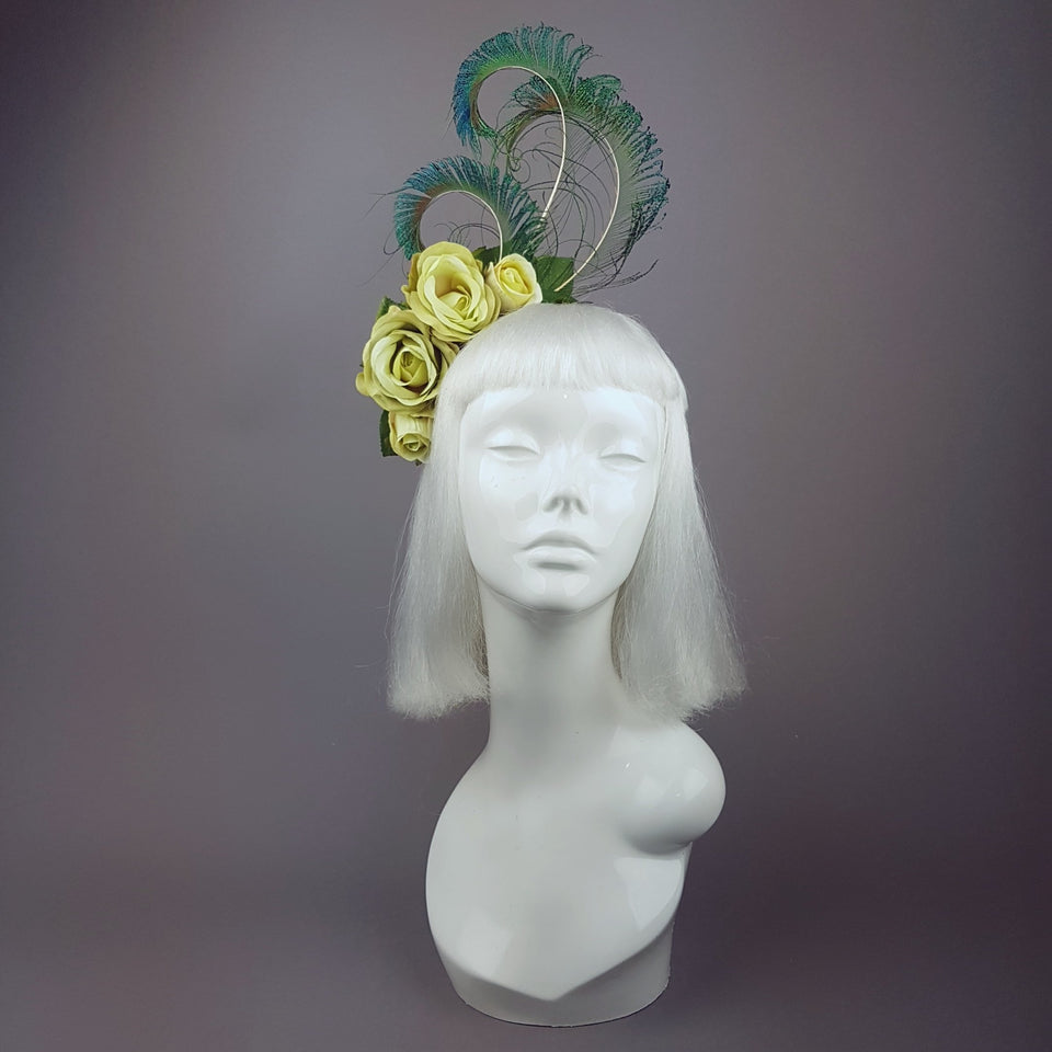"""Ordella"" Lime Green Peacock Headdress"