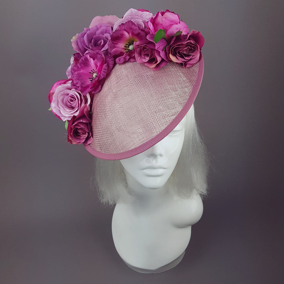 """Liliana"" Purple Pink Royal Ascot Floral Hat"
