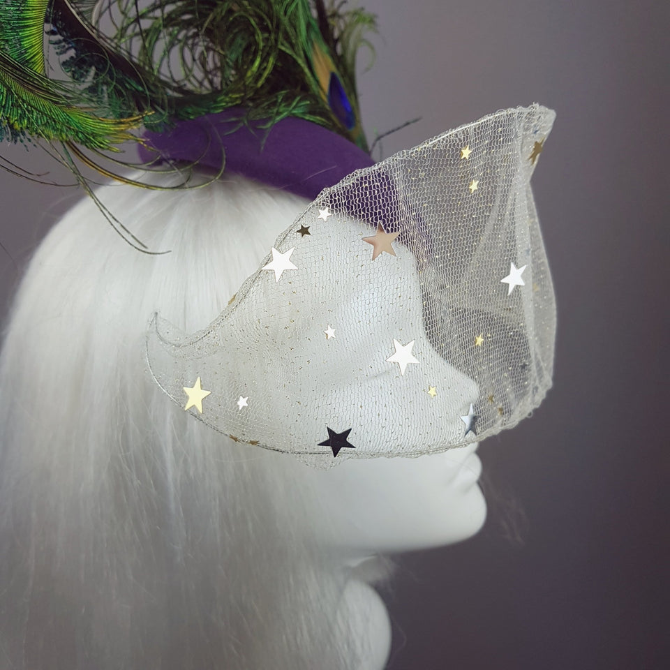 """Cortesana"" Veiled Peacock Feather Hat"