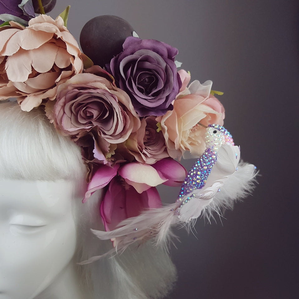 """Fleur De Prunier"" Pink Purple Plum & Floral Rose Headpiece with Crystal Bird"