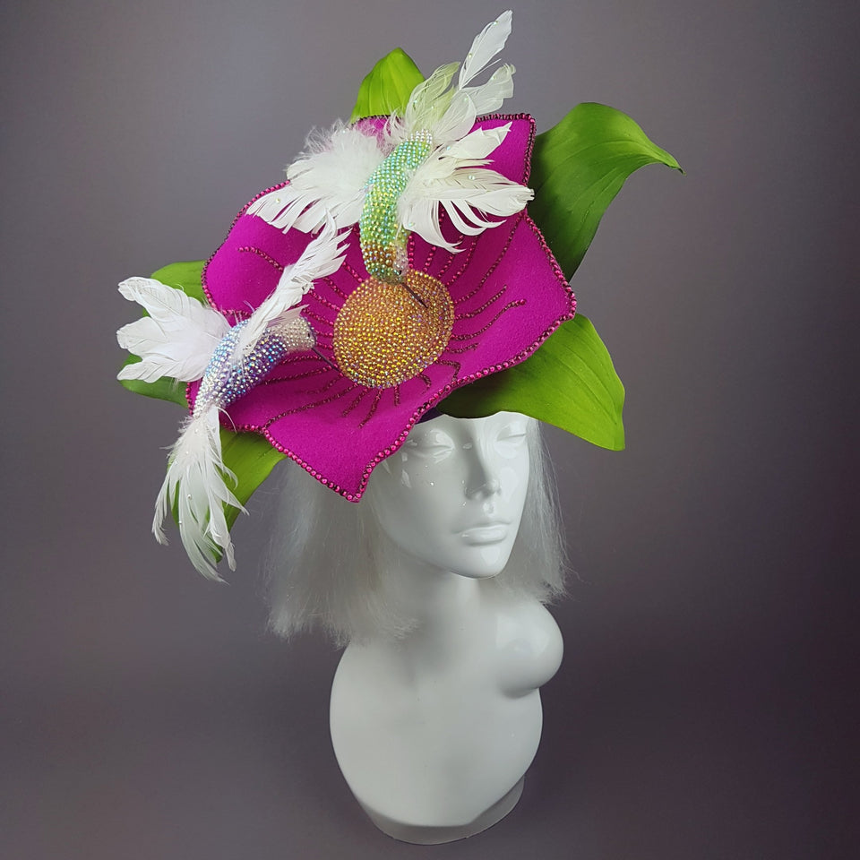 """In Flight"" Huge Flower & Hummingbird Hat"