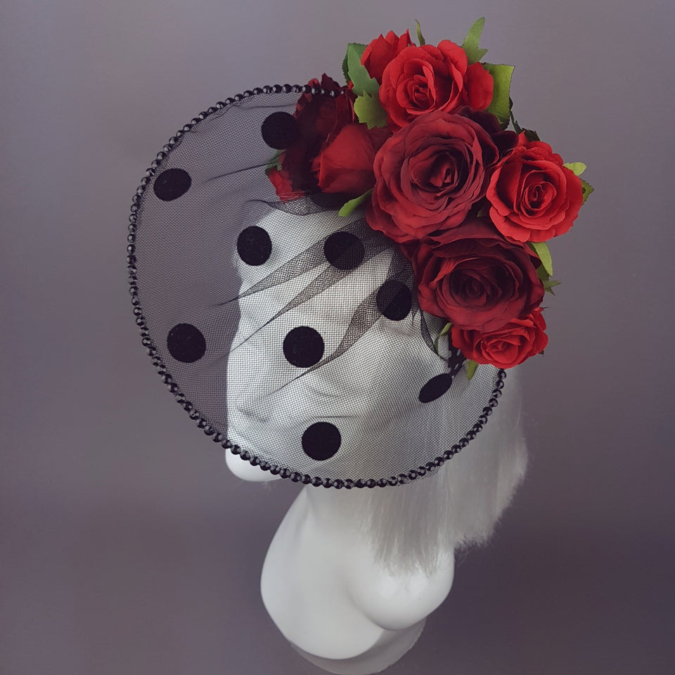 """Rosetta"" Polka-dot veil Red Rose Hat"