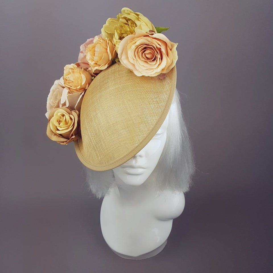 """Fiore"" Gold Floral Royal Ascot Hat"