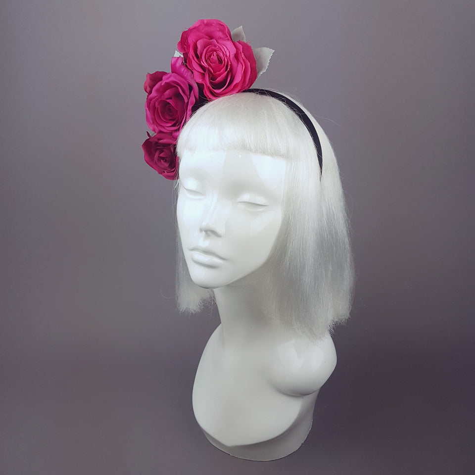 """Rhoslyn"" Pink Floral Wedding Headband"