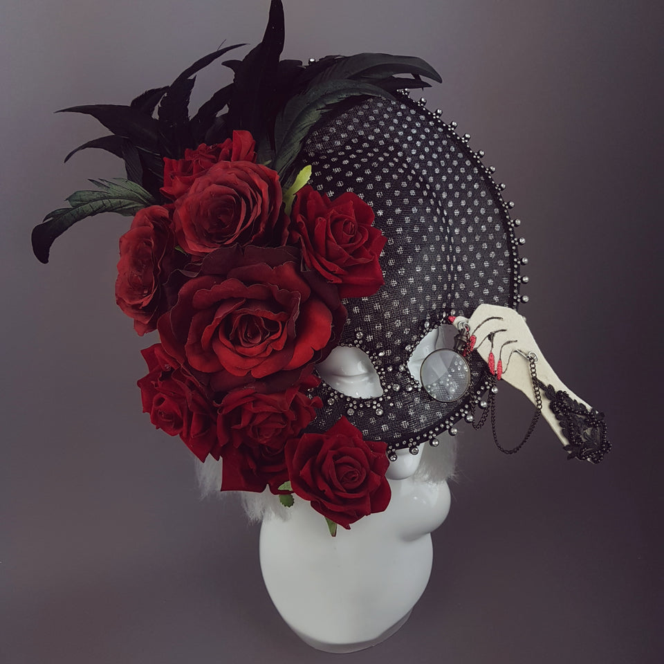 """Eccentricity"" Black and white Polka dot, Rose Feather Hat Mask"