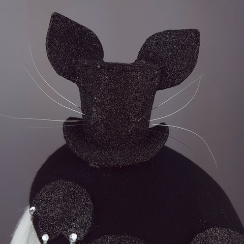 "Black Glitter Cat Top Hat ""Topcat"""